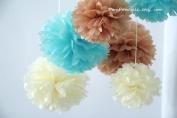 """PomPomSale Brand """"Baby Boy Nursery"""" - 7 Tissue Paper Pom Poms - Wedding / Baby Shower / Birthday Party / Nursery Decorations"""
