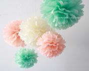 "PomPomSale Brand ""Mint Peach Wedding"" - 9 Tissue Paper Pom Poms - Wedding / Baby Shower / Birthday Party / Nursery Decorations"