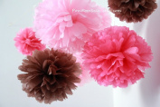 "PomPomSale Brand ""Pink Brown Nursery"" - 10 Tissue Paper Pom Poms - Wedding / Baby Shower / Birthday Party / Nursery Decorations"