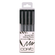 Copic Markers Multiliner Broad Pigment Based Ink, 4-Piece Set