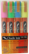 Chalk Ink 6mm Fluorescent Wet Wipe Markers, 4-Pack