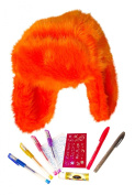 Best Glitter Gel Writing Pen Set and Fun Tattoo Pens and Neon Orange Faux Fur Trapper Hat Gift Set with Fruity Lip Balm - Best Easter Basket Stuffers Gifts Ideas for Women and Teens. Guaranteed to please.