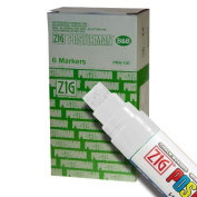 Zig Posterman Waterproof 15mm White Paint Markers - Box of 6