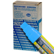 Zig Illumigraph High Fluorescent Wet Erasable 15mm Light Blue Paint Markers - Box of 6