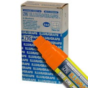 Zig Illumigraph High Fluorescent Wet Erasable 15mm Orange Paint Markers - Box of 6