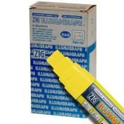 Zig Illumigraph High Fluorescent Wet Erasable 15mm Yellow Paint Markers - Box of 6