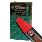 Zig Posterman Wet-Wipe 15mm Red Paint Markers - Box of 6