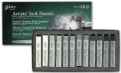 Mungyo Gallery Soft Pastel Squares Cardboard Box Set of 12 - Greys