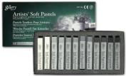 Mungyo Gallery Soft Pastel Squares Cardboard Box Set of 12 - Greys