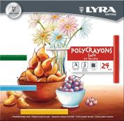 LYRA Polycrayons Soft Pastel Crayons, Set of 24 Crayons, Assorted Colours