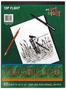 Top Flight Tracing Paper Tablet, Transparent, Erasable Surface, White, 23cm x 30cm , 40 Sheets