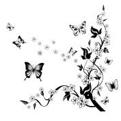 2013Newestseller Black Flower Vine Design Removable Bed Room Art Mural Vinyl Wall Sticker Decal.
