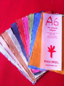 KHADI PAPER MULTICOLOR RAG PAPER (20 SHEETS) PACKS A6C 150 GSM 10cm X 15cm