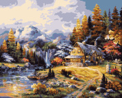 Plaid Paint by Number Kit, 50cm by 41cm , Mountain Hideaway
