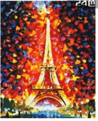 W & Hstore 13402 DIY Paint By Number Kit,Eiffel tower,50cm x 41cm