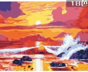 W & Hstore 13429 DIY Paint By Number Kit,The Setting Sun and Sea,50cm x 41cm