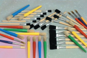 School Smart Young Artist Paint Brush Pack - Assorted Sizes - Set of 36 - Assorted Colours
