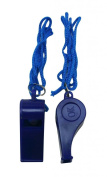 Yongshida Deep Blue Plastic Whistle and Deep Blue Lanyard Combo Pack of 10