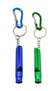 Yongshida Aluminium Whistle with Key Ring and Carabiner 2 Colours Pack of 2 Sets