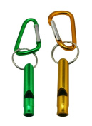 Yongshida Aluminium Whistle with Key Ring and Carabiner 2 Colours Pack of 3 Sets