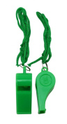 Yongshida Green Plastic Whistle and Green Lanyard Combo Pack of 15