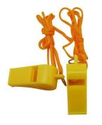 Yongshida Yellow Plastic Whistle and Golden Lanyard Combo Pack of 15