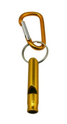 Yongshida Aluminium Whistle with Key Ring and Carabiner Colour Golden Pack of 8