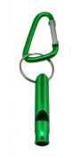 Yongshida Aluminium Whistle with Key Ring and Carabiner Colour Green Pack of 8