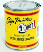 1-Shot Lettering Enamel lettering white pint can