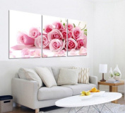 3pc canvas NO frame. Modern Abstract Art Painting Romantic Decor with Pink rose bouquet