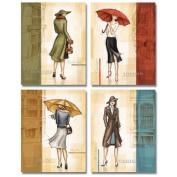 Paris, London, Milano and New York Fashion Rain Set Art