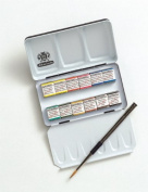 Schmincke Half Pan Watercolour Pocket Set in a Compact Metal Travel Box