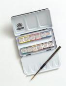 Schmincke Half Pan Watercolour Pocket Set in a Compact Metal Travel Box