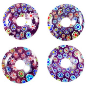 30MM LT BLUE PURPLE MILLEFIORI DONUT PENDANT B08