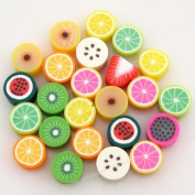 Mix Round Fruit Shape Fimo Polymer Clay Beads 60