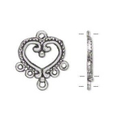 Pewter and antiqued silver-plated 17x15mm single-sided heart with 5 loops Drop. Sold per pkg of 5 pairs.