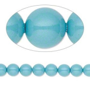 6mm Round. Crystal Gemcolors Turquoise Pearls (5810) Package of 50