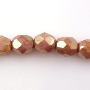 Czech Glass Fire Polished 6mm faceted round Lustre - Opaque Rose/Gold Topaz