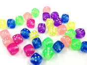 Adored Dice Beads Clear Mixed Colour Round w/White Letter 100/pkg