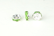Spacer Bead w Rhinestones 6mm Rondelles Silver Plated - Peridot Green , Pack of 12