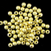 50 4mm gold plated brass stardust round beads
