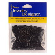 0.6cm . Glass Bugle Bead, Black Opaque