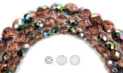 Choose a Size, Rosaline Vitrail coated, Czech Fire Polished Round Faceted Glass Beads, 41cm strand