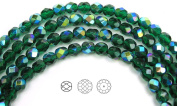 Choose a Size, Medium Emerald AB coated, Czech Fire Polished Round Faceted Glass Beads, 41cm