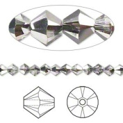 . Crystal 5328 4mm XILION Crystal Silver Night Bicones - 48 Pack