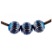 Holiday Aluminium Bead Fits Pandora Blue with Silver Ornamentation