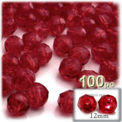 The Crafts Outlet 100-Piece Faceted Plastic Transparent Round Beads, 12mm, Raspberry Red
