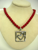LeRoux 7842 Red Bead Strand With Silver Tone Heart Pendant