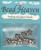 Bead Heaven Sterling Silver Plated Smiling Sun Spacer Beads 8 Pcs
