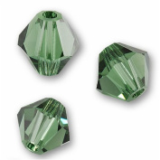 10 BICONE 8mm. GREEN TURMALINE 5301 Crystal Beads.
